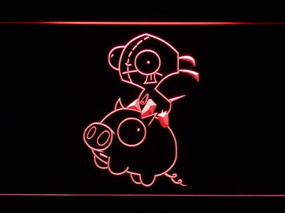 Invader Zim Gir and Piggy LED Neon Sign - Red - SafeSpecial