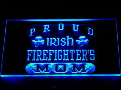Irish Fire Fighter's Mom LED Neon Sign - Blue - SafeSpecial