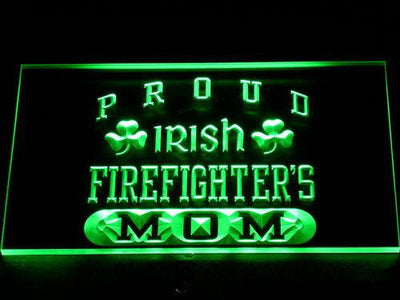 Irish Fire Fighter's Mom LED Neon Sign - Green - SafeSpecial