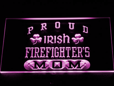 Irish Fire Fighter's Mom LED Neon Sign - Purple - SafeSpecial