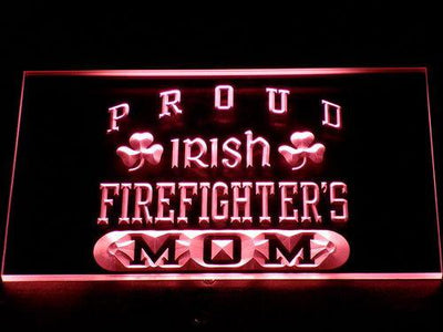 Irish Fire Fighter's Mom LED Neon Sign - Red - SafeSpecial