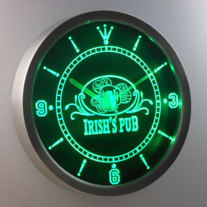 Irish's Pub LED Neon Wall Clock - Green - SafeSpecial
