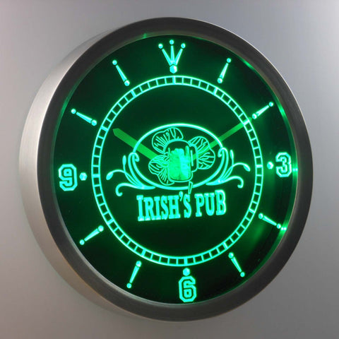 Image of Irish's Pub LED Neon Wall Clock - Green - SafeSpecial