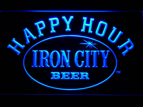 Image of Iron City Happy Hour LED Neon Sign - Blue - SafeSpecial