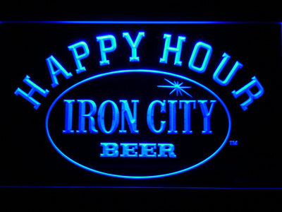 Iron City Happy Hour LED Neon Sign - Blue - SafeSpecial