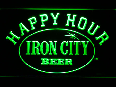 Image of Iron City Happy Hour LED Neon Sign - Green - SafeSpecial