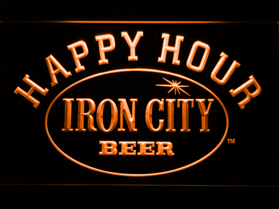 Iron City Happy Hour LED Neon Sign - Orange - SafeSpecial