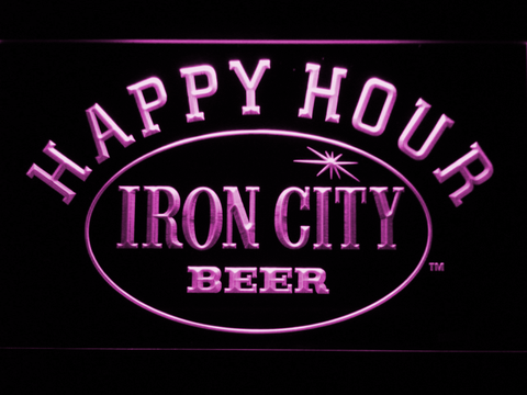 Image of Iron City Happy Hour LED Neon Sign - Purple - SafeSpecial