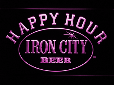 Iron City Happy Hour LED Neon Sign - Purple - SafeSpecial