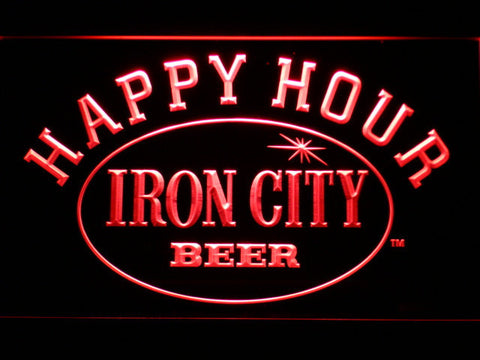 Image of Iron City Happy Hour LED Neon Sign - Red - SafeSpecial