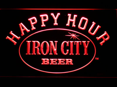 Iron City Happy Hour LED Neon Sign - Red - SafeSpecial