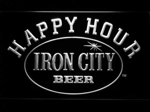 Image of Iron City Happy Hour LED Neon Sign - White - SafeSpecial