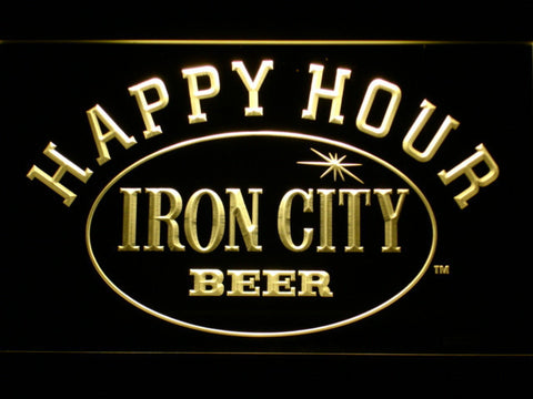Image of Iron City Happy Hour LED Neon Sign - Yellow - SafeSpecial