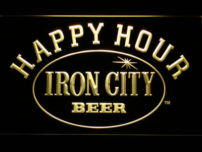 Iron City Happy Hour LED Neon Sign - Yellow - SafeSpecial