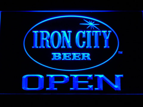 Image of Iron City Open LED Neon Sign - Blue - SafeSpecial