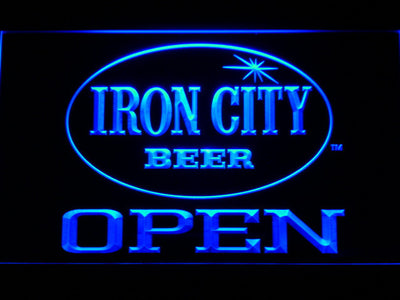 Iron City Open LED Neon Sign - Blue - SafeSpecial
