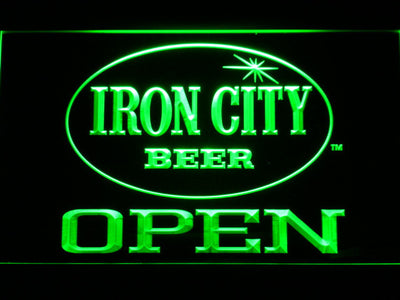 Iron City Open LED Neon Sign - Green - SafeSpecial