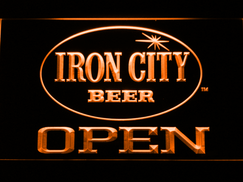 Image of Iron City Open LED Neon Sign - Orange - SafeSpecial