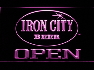 Iron City Open LED Neon Sign - Purple - SafeSpecial