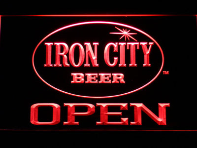Iron City Open LED Neon Sign - Red - SafeSpecial