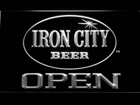 Image of Iron City Open LED Neon Sign - White - SafeSpecial