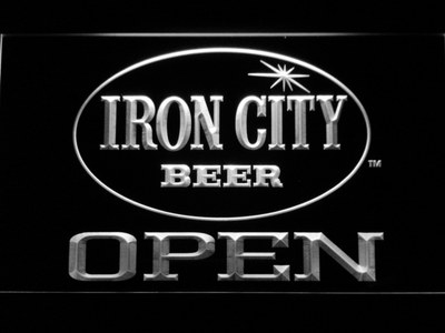 Iron City Open LED Neon Sign - White - SafeSpecial