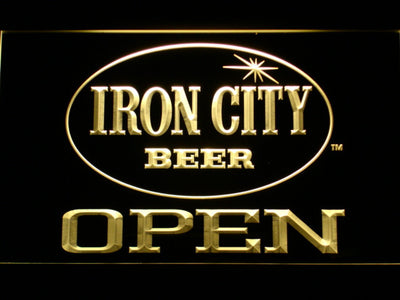 Iron City Open LED Neon Sign - Yellow - SafeSpecial