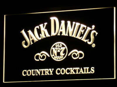 Jack Daniel's Country Cocktails LED Neon Sign - Yellow - SafeSpecial