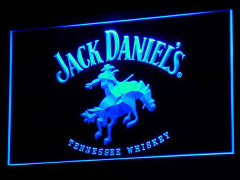 Jack Daniel's Cowboy LED Neon Sign - Blue - SafeSpecial