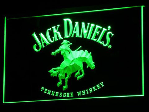 Jack Daniel's Cowboy LED Neon Sign - Green - SafeSpecial
