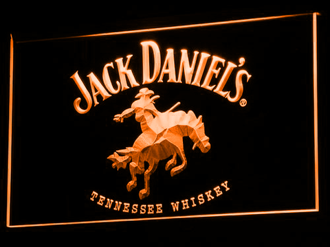 Jack Daniel's Cowboy LED Neon Sign - Orange - SafeSpecial
