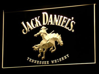 Jack Daniel's Cowboy LED Neon Sign - Yellow - SafeSpecial