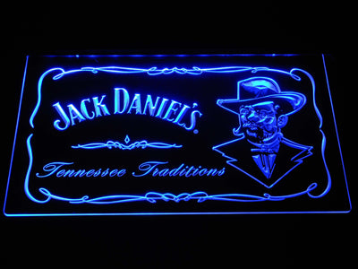 Jack Daniel's Face LED Neon Sign - Blue - SafeSpecial