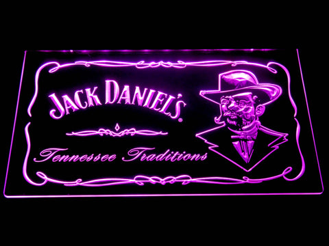 Image of Jack Daniel's Face LED Neon Sign - Purple - SafeSpecial