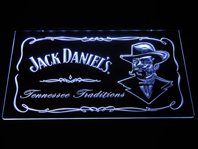 Jack Daniel's Face LED Neon Sign - White - SafeSpecial