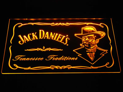 Jack Daniel's Face LED Neon Sign - Yellow - SafeSpecial