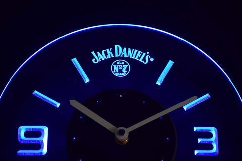 Image of Jack Daniel's Old No. 7 Modern LED Neon Wall Clock - Blue - SafeSpecial