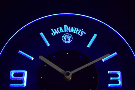Jack Daniel's Old No. 7 Modern LED Neon Wall Clock - Blue - SafeSpecial