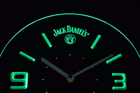 Image of Jack Daniel's Old No. 7 Modern LED Neon Wall Clock - Green - SafeSpecial