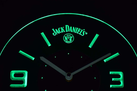 Jack Daniel's Old No. 7 Modern LED Neon Wall Clock - Green - SafeSpecial