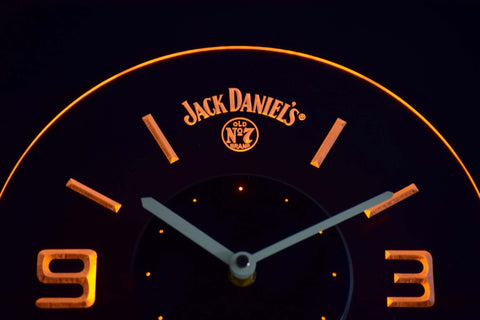 Image of Jack Daniel's Old No. 7 Modern LED Neon Wall Clock - Yellow - SafeSpecial