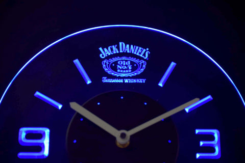 Image of Jack Daniel's Old No. 7 Tennessee Modern LED Neon Wall Clock - Blue - SafeSpecial