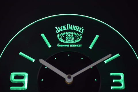 Image of Jack Daniel's Old No. 7 Tennessee Modern LED Neon Wall Clock - Green - SafeSpecial