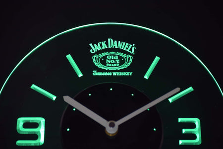 Jack Daniel's Old No. 7 Tennessee Modern LED Neon Wall Clock - Green - SafeSpecial