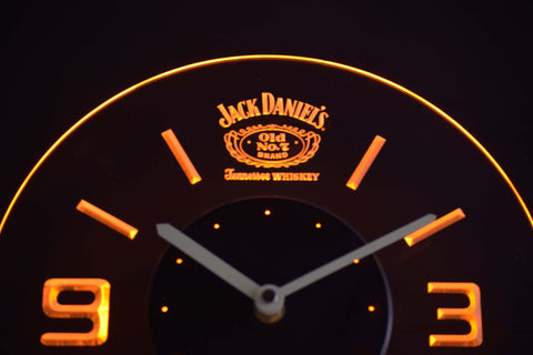 Image of Jack Daniel's Old No. 7 Tennessee Modern LED Neon Wall Clock - Yellow - SafeSpecial