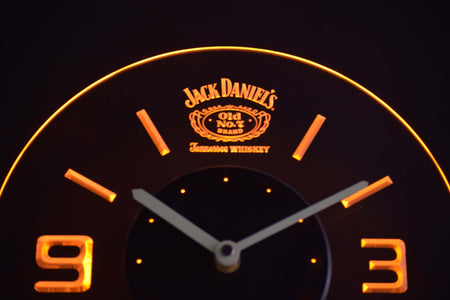 Jack Daniel's Old No. 7 Tennessee Modern LED Neon Wall Clock - Yellow - SafeSpecial