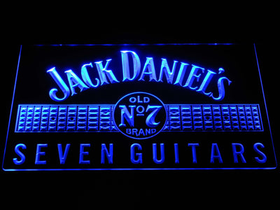Jack Daniel's Seven Guitars LED Neon Sign - Blue - SafeSpecial