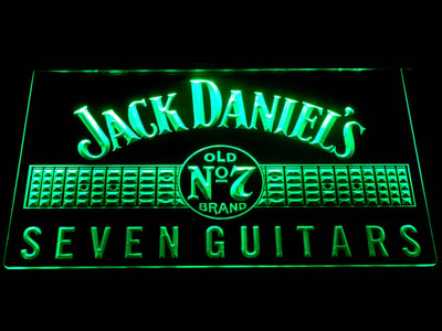 Jack Daniel's Seven Guitars LED Neon Sign - Green - SafeSpecial