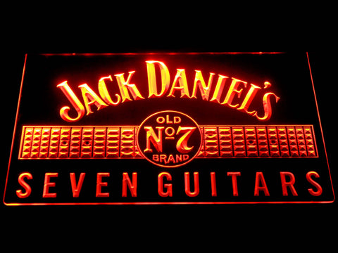 Image of Jack Daniel's Seven Guitars LED Neon Sign - Orange - SafeSpecial