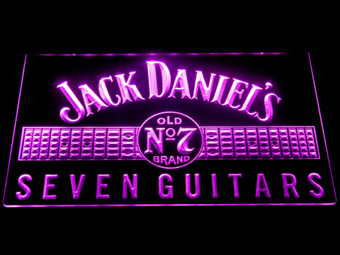 Image of Jack Daniel's Seven Guitars LED Neon Sign - Purple - SafeSpecial